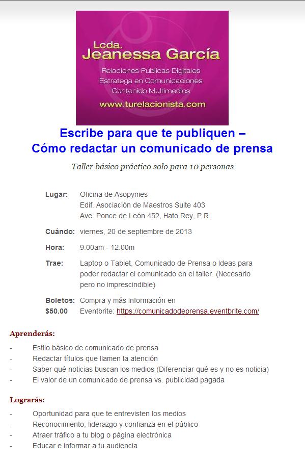 Flyer Comunicado de Prensa 101 - 2013